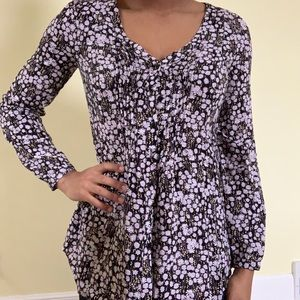 LC LAUREN CONRAD Purple Floral Tunic